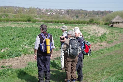 Members looking at view of Rodley nature Reserve
