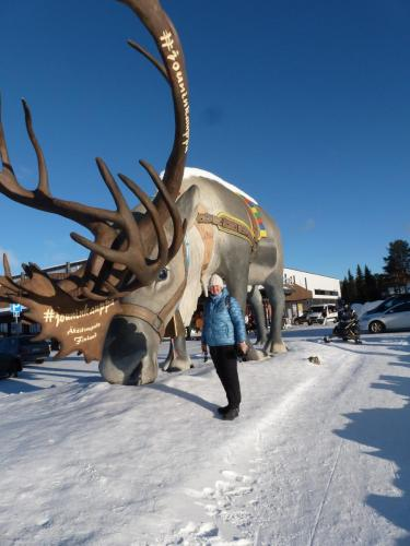 Deb with the giant reindeer in the supermarket car park!